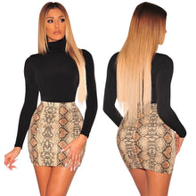 Load image into Gallery viewer, Leather Snake Print High Waist Slim Short Mini Skirt