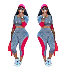 Load image into Gallery viewer, Two Piece Gray And Red Crop Top And Pants Set