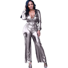 Load image into Gallery viewer, Shiny Silver Button-Up Long Sleeve Drawstring Waist Loose Wide Leg Jumpsuit