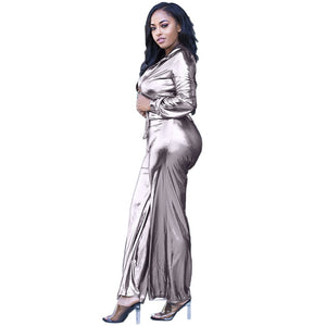 Shiny Silver Button-Up Long Sleeve Drawstring Waist Loose Wide Leg Jumpsuit