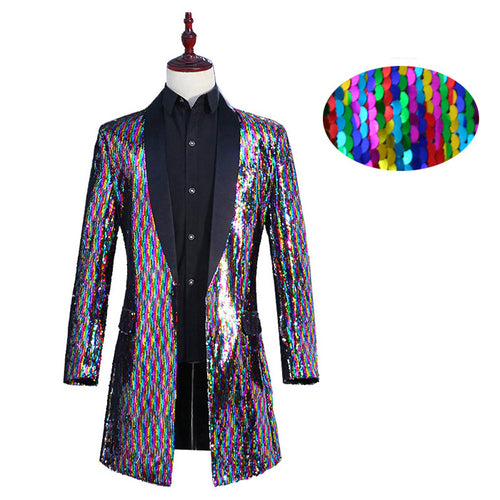 Shiny Coulorful Sequin Glitter Blazer Extra Long Suit Jacket