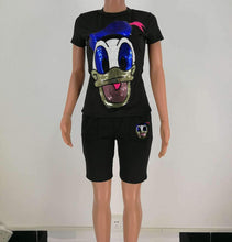 Load image into Gallery viewer, Sequin Cartoon Two Top And Short Pants Set