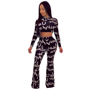 2 Piece Letter Print Long Sleeve Crop Top And Long Flare Pants