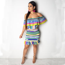 Load image into Gallery viewer, Striped Short Ruffle Sleeve Casual Dress