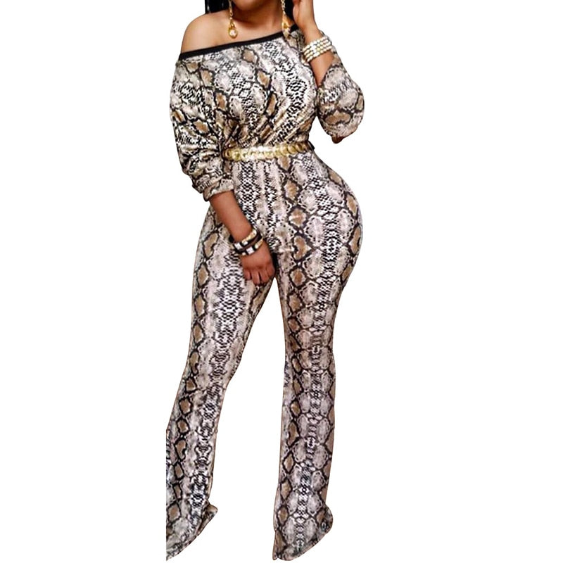 Snakeskin Print Wide Leg Long Sleeve One Shoulder Jumpsuit