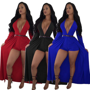 Solid Color Deep V Neck Long Sleeve High Waist Short Jumpsuit