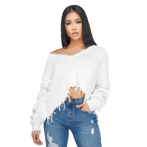Solid Short Distressed Long Sleeve Knitted V-Neck Sweater