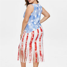 Load image into Gallery viewer, Plus Size American Sleeveless Flag Stripes Tassel Dress - kats closet1