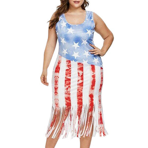 Plus Size American Sleeveless Flag Stripes Tassel Dress