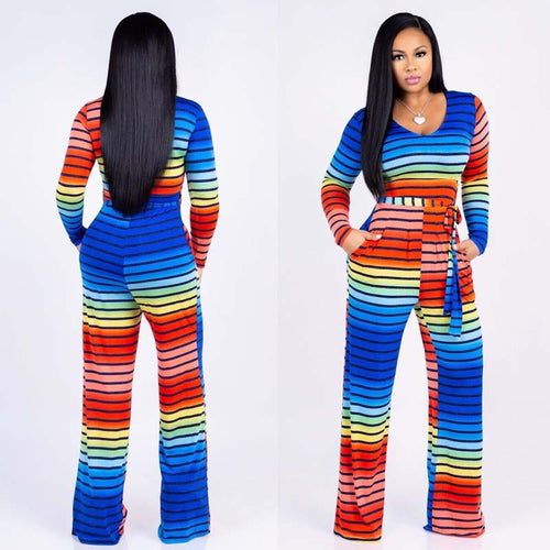 Colorful Long Sleeve Wide Leg Striped Jumpsuit - kats closet1
