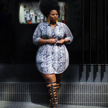 Load image into Gallery viewer, Plus Size Snake Print Long Sleeve Turn-down Collar Mini Dress