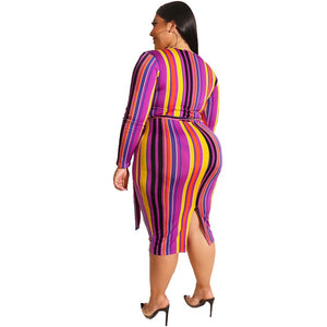 Plus Size Long Sleeves Multi Color Cross Tight Bag Hips V-Neck Dress with Belt