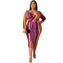 Load image into Gallery viewer, Plus Size Long Sleeves Multi Color Cross Tight Bag Hips V-Neck Dress with Belt
