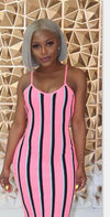 Square Collar Sleeveless Striped Spaghetti Strap Sundress