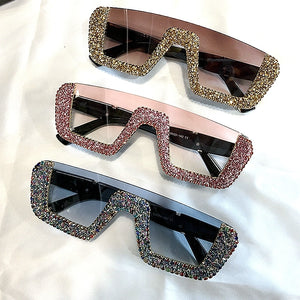 Square Luxury Oversize Rhinestone Sunglasses