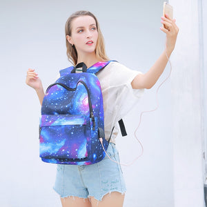 Anti Theft Starry Sky Backpack For Teenage Girls