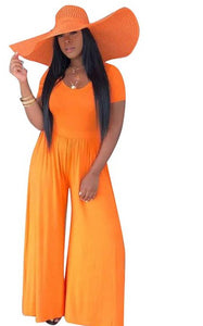 Casual Solid Loose Wide Leg Short Sleeve O Neck  Orange Jumpsuit