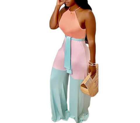 Casual Wide Leg Sleeveless Halter Jumpsuit