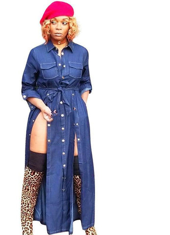 Sexy High Split Maxi Long Sleeve Turn Down Collar Denim Dress