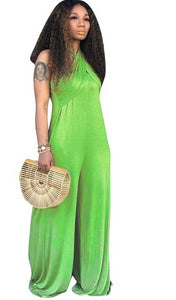 Full Length Strapless  Casual Wide Leg  Off Shoulder Loose Jumpsuit