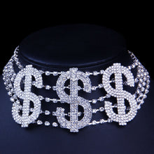 Load image into Gallery viewer, RICH Money Sign Rhinestone Choker Necklace