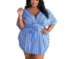 Load image into Gallery viewer, Plus Size Striped Print V Neck Half Sleeve High Waist Sashes Dress