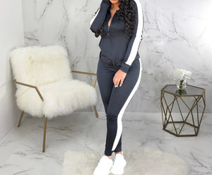 Striped Two Piece Long Sleeve And Jogger Pants Sweat Suit
