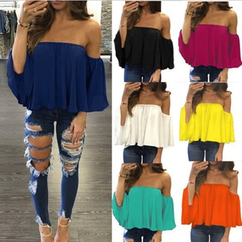 Off Shoulder Chiffon Casual Multi-Color Blouse