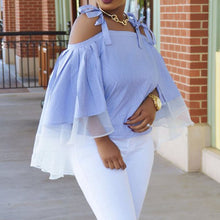 Load image into Gallery viewer, Blue Off Shoulder Elegant Stripe Loose Ruffle Blouse