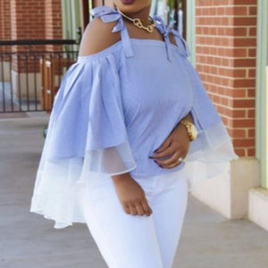 Blue Off Shoulder Elegant Stripe Loose Ruffle Blouse