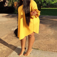 Load image into Gallery viewer, Plus Size Yellow Casual Ruffle Sleeve Chic Dress