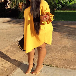 Plus Size Yellow Casual Ruffle Sleeve Chic Dress