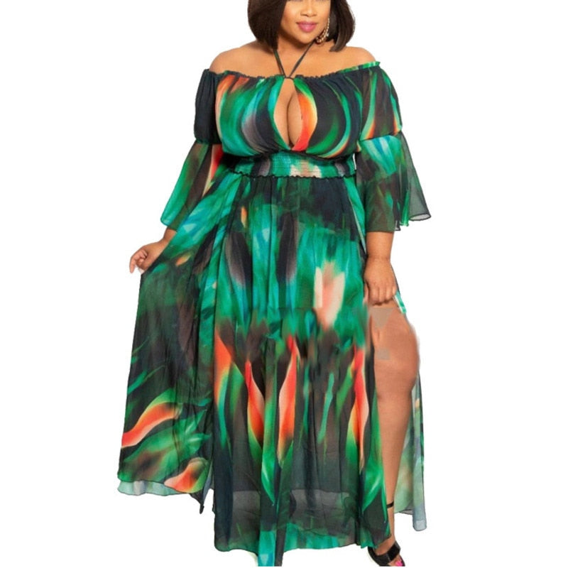 Plus Size Off Shoulder Loose Split Long Maxi Dress