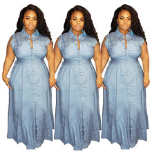 Load image into Gallery viewer, Plus Size Casual High Waist Sleeveless A-line Dress With Buttons