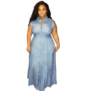 Plus Size Casual High Waist Sleeveless A-line Dress With Buttons