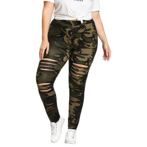 Plus Size Hole Camouflage Mid Waist Leggings