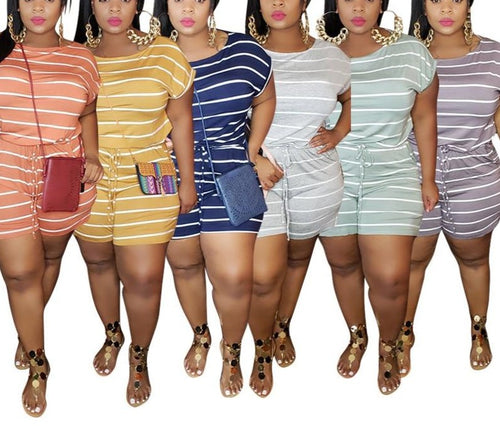 Plus Size Loose Striped Shorts One Piece Playsuit