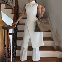 Load image into Gallery viewer, White Simple Elegant  Long Wide Legs Pants Jumpsuit