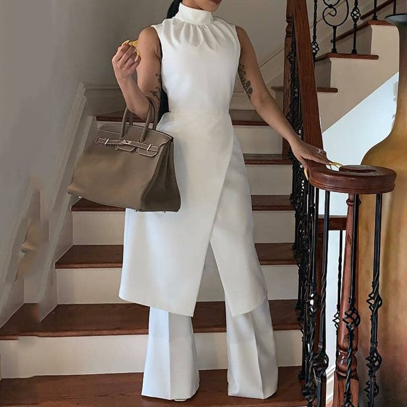 White Simple Elegant  Long Wide Legs Pants Jumpsuit