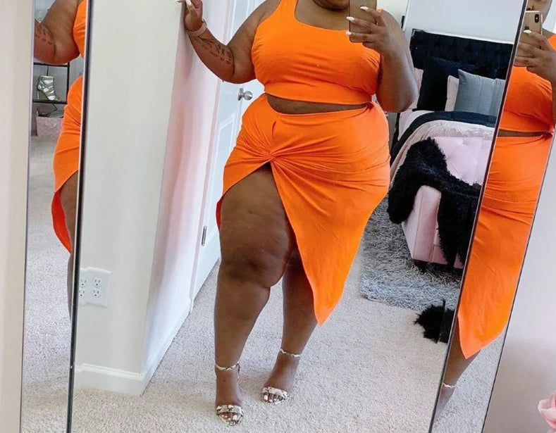 Plus Size Two Piece Crop Top And Knee-Length Orange Skirt Set