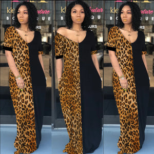 4 Color Leopard Print V-neck Short Sleeve Straight Maxi Dress