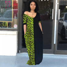 Load image into Gallery viewer, 4 Color Leopard Print V-neck Short Sleeve Straight Maxi Dress