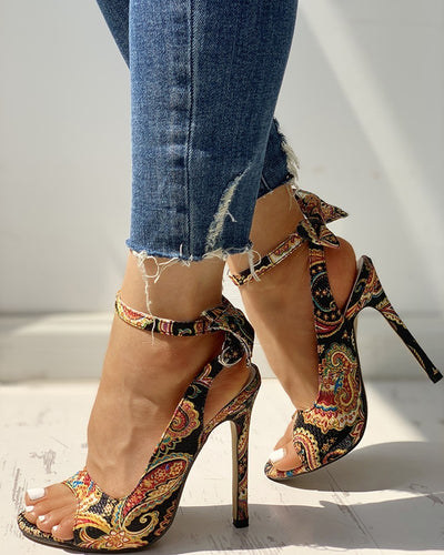 Thin High Heels Fish Mouth Bow Not Cross-Tied Pumps
