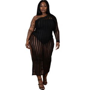 Plus Size One Shoulder Long Sleeve Lace Mesh Hem Split-fork Dress