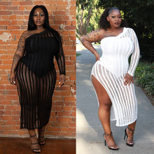 Load image into Gallery viewer, Plus Size One Shoulder Long Sleeve Lace Mesh Hem Split-fork Dress