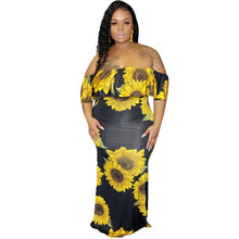 Load image into Gallery viewer, Sunflower Print Plus Size Slash Neck Short Sleeve Off Shoulder Backless Maxi Dress