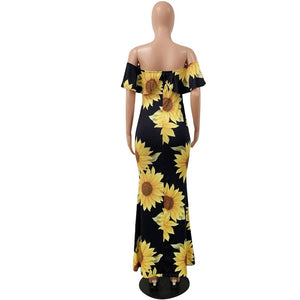 Sunflower Print Plus Size Slash Neck Short Sleeve Off Shoulder Backless Maxi Dress