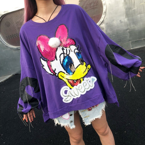 Super Large Size Women's O-Neck Pullovers High Street Cartoon Sequins Sweatshirt - kats closet1