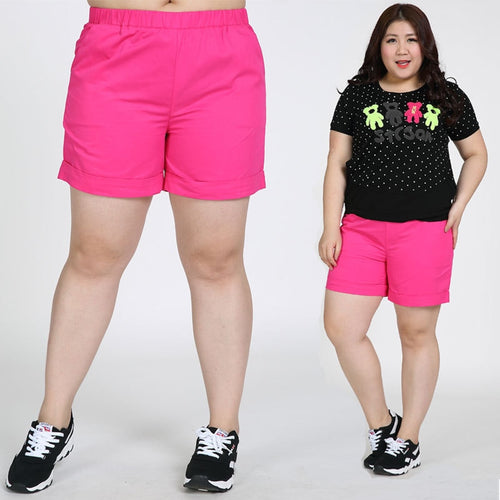 Plus Size Mid Waist Elastic Cotton Shorts - kats closet1