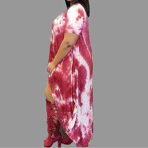 Tie Dye Short Sleeve Maxi Long Print Dress